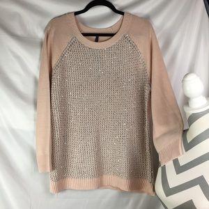 NYDJ Peach Pixie Sequin & Glitter Pullover Sweater